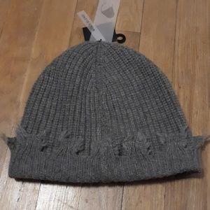 Zara Man Beanie distressed gray wool blend